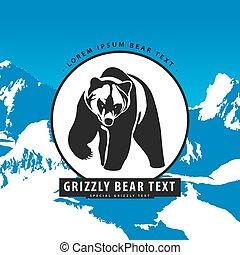 logotipo, urso, montanhas