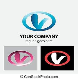 logotipo, v, letra, ícone