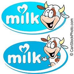 logotipo, vaca leite