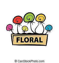 logotipo, vaso, vettore, fiori, variopinto