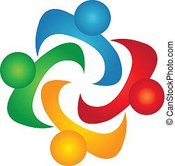 logotipo, vect, trabalho equipe, soluções, pessoas