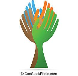 logotipo, vector, árbol, elaboración, manos