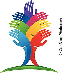 logotipo, vector, árbol, manos