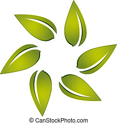 logotipo, vector, alrededor, leafs