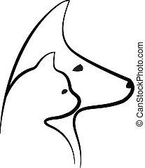logotipo, vector, cabezas, perro, gato