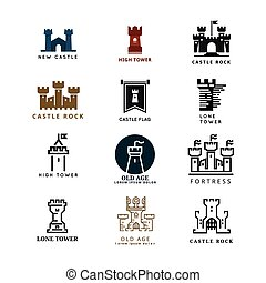 logotipo, vector, conjunto, fortaleza, castillo