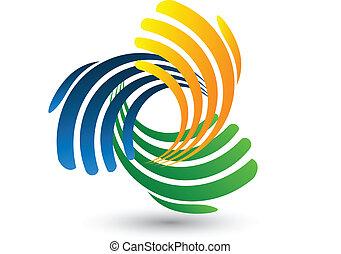 logotipo, vector, de conexión, manos