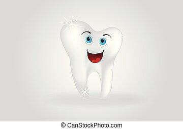 logotipo, vector, dientes, lindo