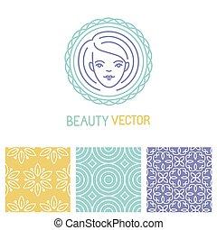 logotipo, vector, diseño, belleza, plantilla