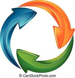 logotipo, vector, flechas, empresa / negocio