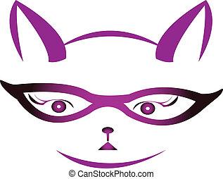 logotipo, vector, gatito, anteojos, cara