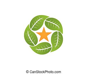 logotipo, vector, hoja, template., naturaleza