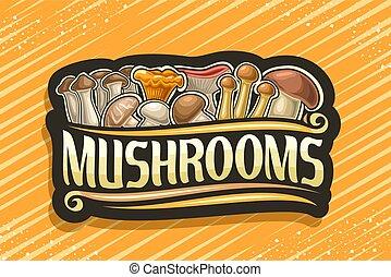 logotipo, vector, hongos, comestible