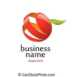 logotipo, vector, manzana