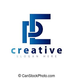 logotipo, vector, pe, carta, inicial
