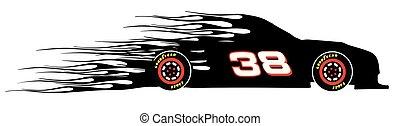 logotipo, vector, racecar, llameante