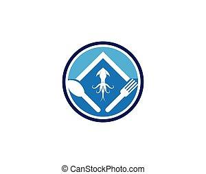 logotipo, vector, resto, calamar, plantilla