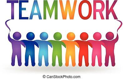 logotipo, vector, trabajo en equipo, gente, socio