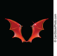 logotipo, vector, vampiro, alas