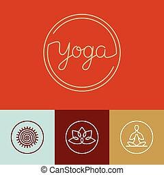 logotipo, vector, yoga, lineal