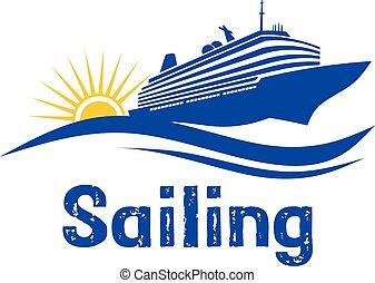 logotipo, velejando, cruzeiro