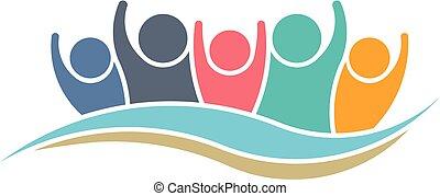 logotipo, vencedor, desenho, trabalho equipe