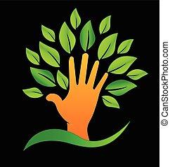 logotipo, verde, folheia, mão