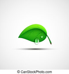 logotipo, verde, goccia, foglia, water.
