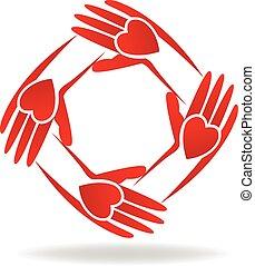 logotipo, vermelho, mãos