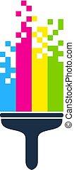 logotipo, vernice, disegno, pixel, icona