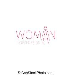 logotipo, vestire, donna, parola