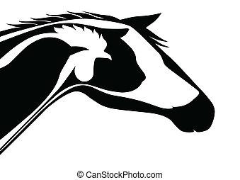 logotipo, veterinario, negro