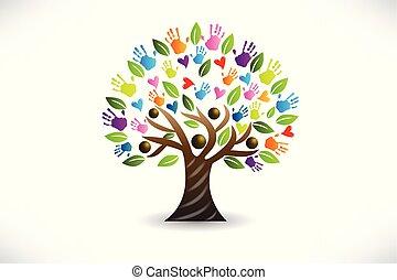 logotipo, vetorial, árvore, corações, mãos