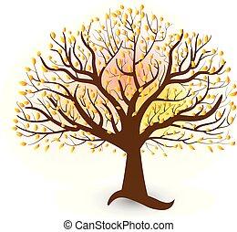 logotipo, vetorial, árvore, folheia, outono