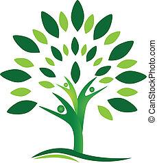 logotipo, vetorial, árvore, pessoas, trabalho equipe