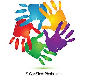 logotipo, vetorial, ao redor, mãos