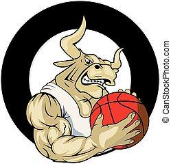 logotipo, vetorial, basquetebol, touro