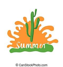 logotipo, vetorial, cacto, pôr do sol