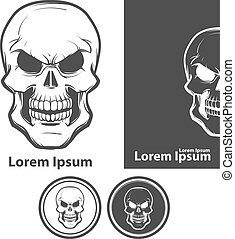 logotipo, vetorial, cranio