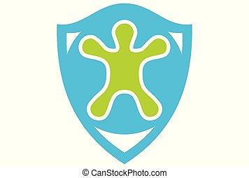 logotipo, vetorial, crianças, proteção