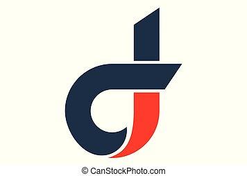 logotipo, vetorial, d, letra