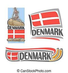 logotipo, vetorial, dinamarca