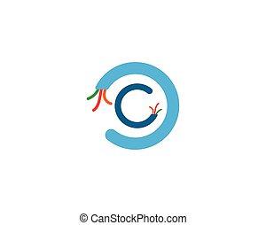 logotipo, vetorial, elétrico, cabo