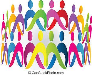 logotipo, vetorial, encontrar pessoas, trabalho equipe
