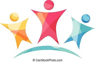 logotipo, vetorial, feliz, equipe