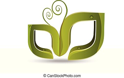logotipo, vetorial, folheia, natureza