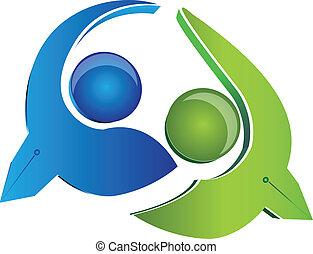 logotipo, vetorial, homens negócio, equipe
