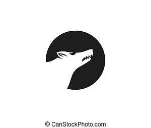 logotipo, vetorial, lobo