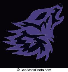 logotipo, vetorial, lobo, tatuagem