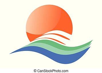 logotipo, vetorial, ondas, sol